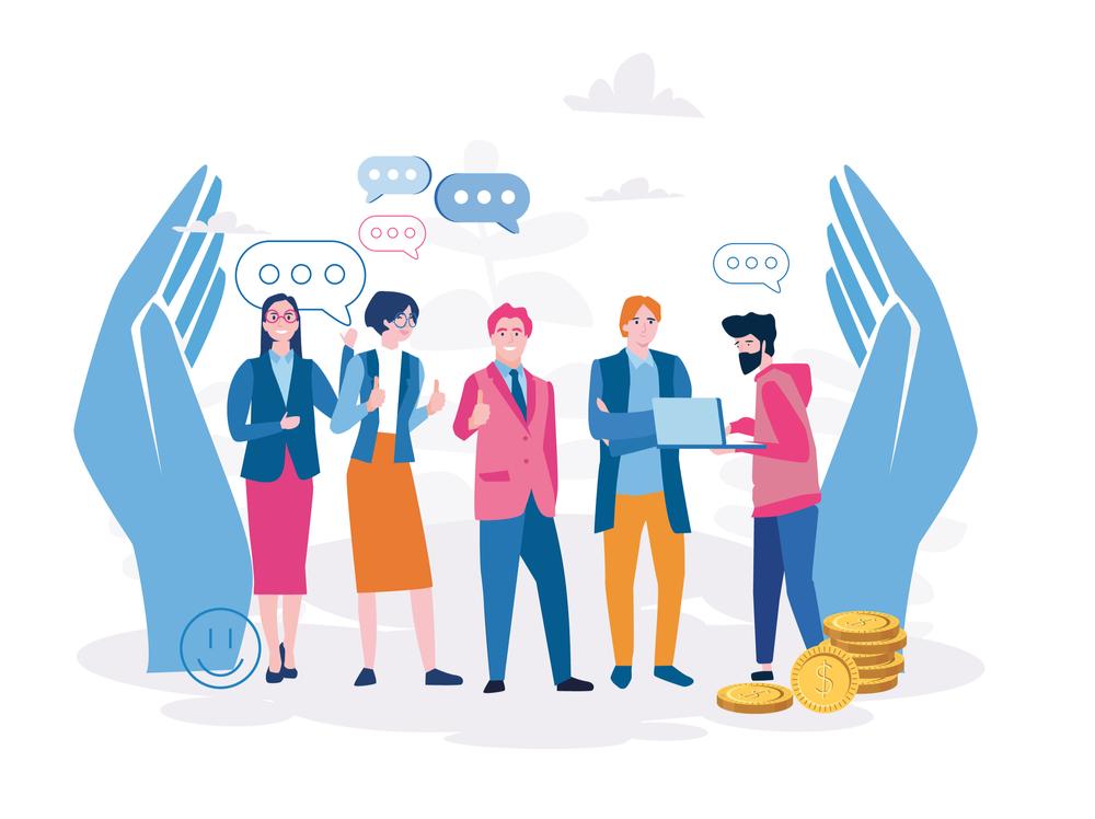 desenho de pessoas conversando no ambiente de trabalho