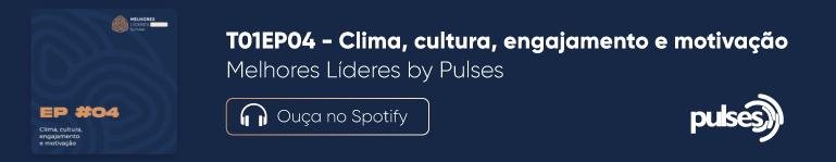 Banner todo azul mostrando o episódio quatro do podcast Melhores Líderes. No canto inferior direito, logo da Pulses branca
