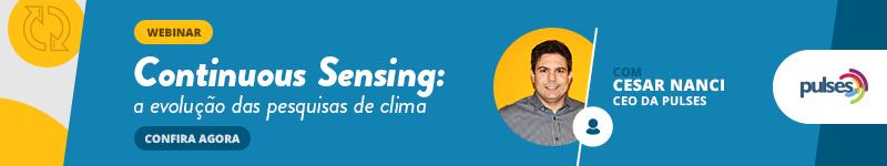 banner azul com detalhes amarelos falando sobre sobre continuous sensing e com a foto de Cesar Nanci em destaque