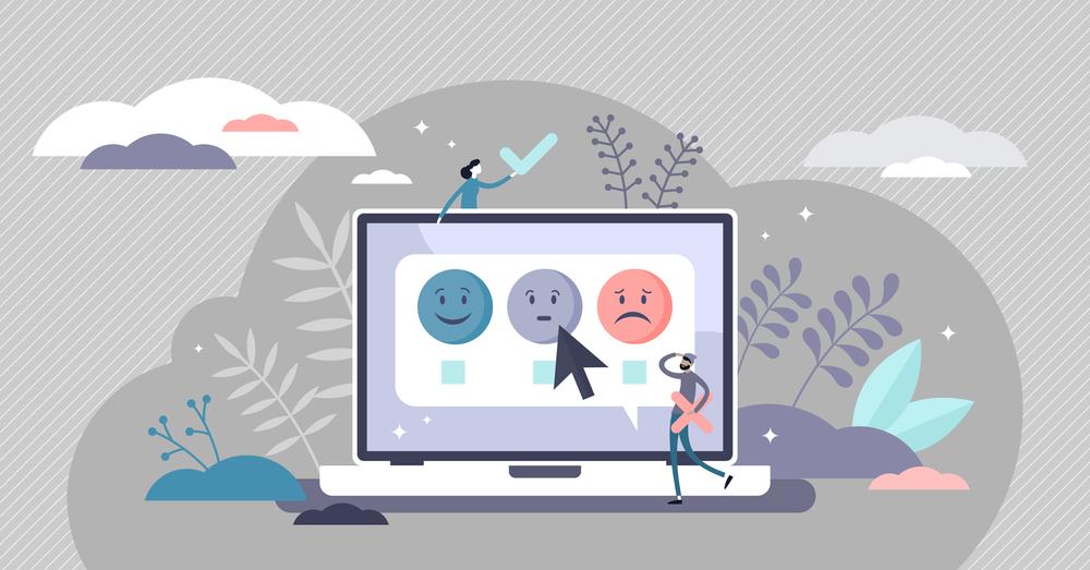 ilustração de computador com ícones de feliz, neutro e triste representado a pesquisa de clima e engajamento